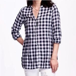 Old Navy Linen Blend Gingham Tunic Top